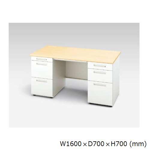 両袖デスク ナイキ XED型 XED167BC W1600×D700×H700(mm) 左袖3段(ペントレー/A4/A4) 右袖3段(ペントレー/A5/B4・A4)のメイン画像