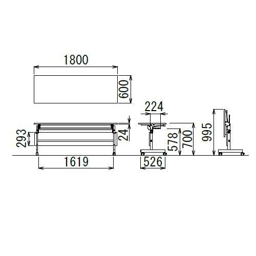 会議用テーブル YST-1860 W1800×D600×H700(mm) サイドスタックテーブル 棚付き商品画像2