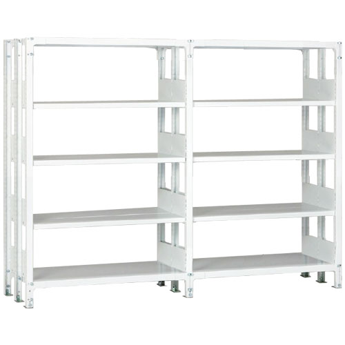 ホワイトラックKU軽量書棚 複式 2連結棚 H1950mm 100kg/段の画像