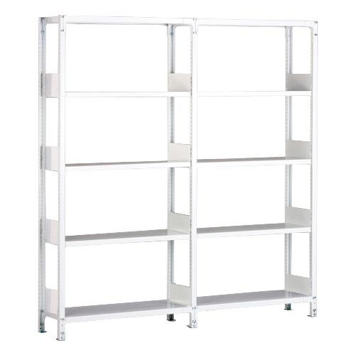 ホワイトラックKU軽量書棚 単式 2連結棚 H1950mm 100kg/段の画像