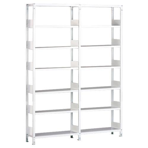 ホワイトラックKU軽量書棚 単式 2連結棚 H2600mm 100kg/段の画像