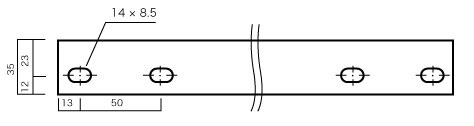 スチール棚板の側面図(ビス穴表示)