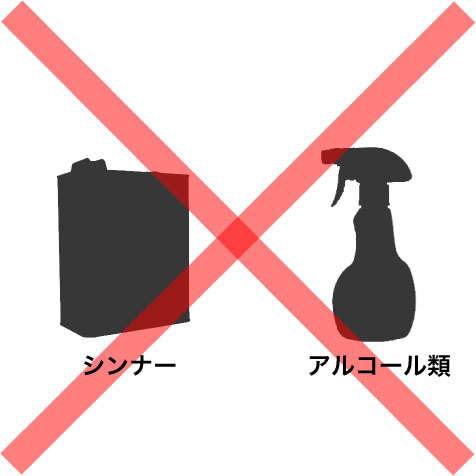 シンナーやアルコール類による汚れ落としやお手入れは避ける