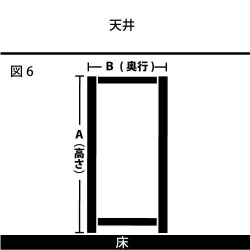 天井に引っ掛からないスチール棚のサイズの求め方 図6 奥行が狭いバージョン