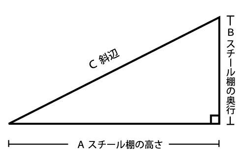 直角三角形で天井に引っ掛からないスチール棚のサイズを求める