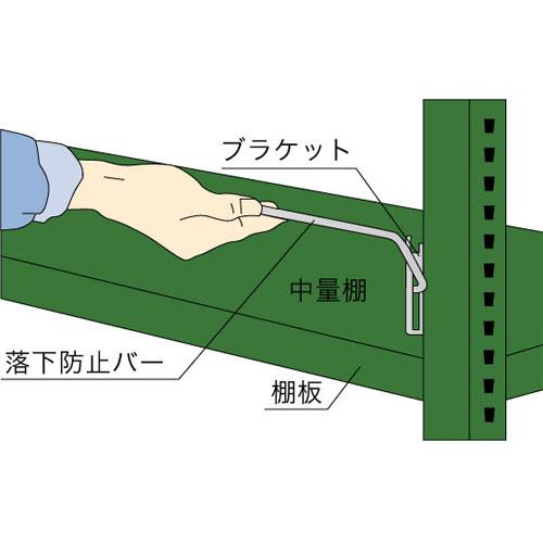 落下防止バーの設置例(中量スチール棚)