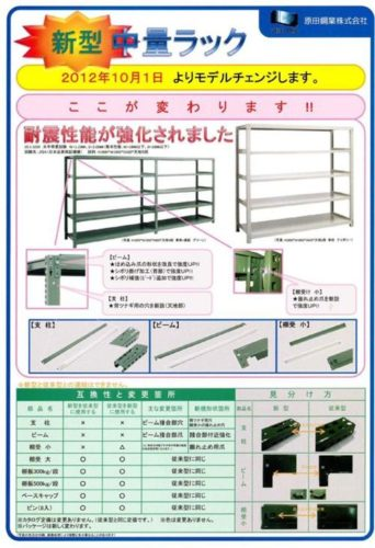 中量スチール棚の耐震性能強化によるモデルチェンジのパンフレット