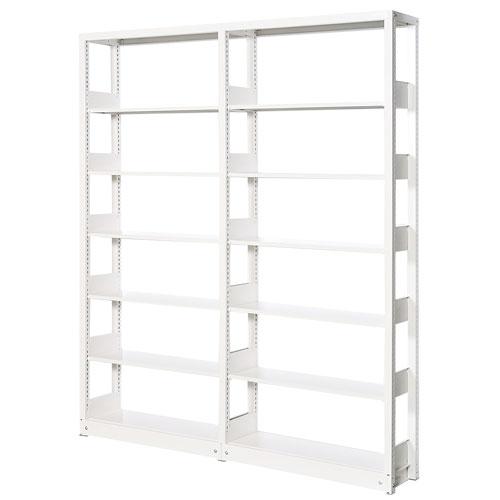 スチール書架(スチール本棚・書棚)ホワイト色 2連結棚単式 6段式