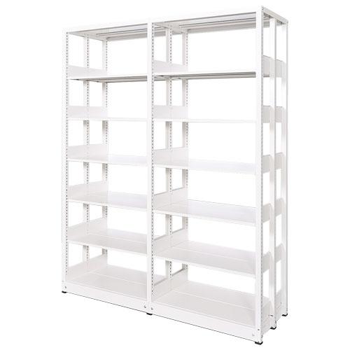 スチール書架(本棚・書棚)のスチール棚タイプ。ホワイト色。2連結棚の複式書架画像