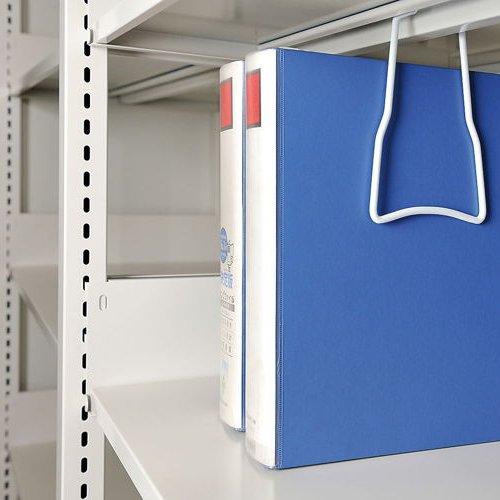 スチール書架(本棚・書棚) ホワイト色 のブックサポーター取り付け例