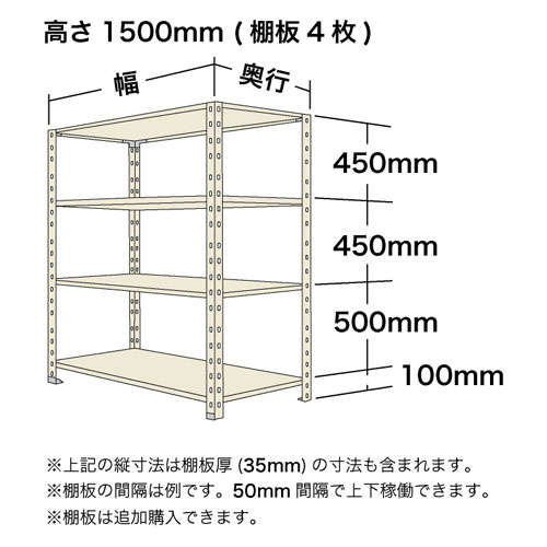 オープン棚(軽量スチール棚)高さ1500mmタイプの寸法図