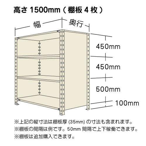 パネル棚(軽量スチール棚)高さ1500mmタイプの寸法図