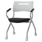 会議椅子 平行スタックチェア MSH-420A キャスター脚 布張り 肘あり